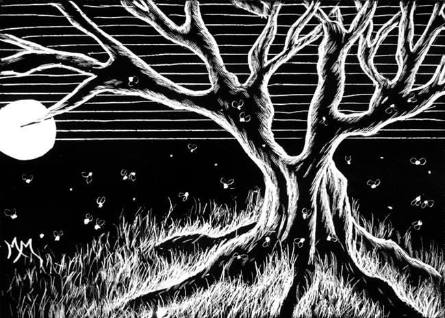 Art: Firefly Tree by Artist Monique Morin Matson