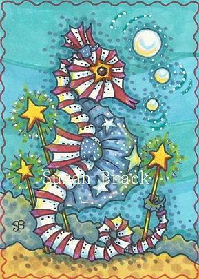 Art: STARS N' STRIPES SEAHORSE by Artist Susan Brack