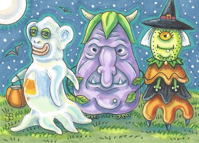 Art: HALLOWEEN MONSTERS FROM OUTER SPACE by Artist Susan Brack