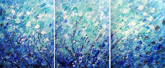Art: Blue Splash  CALMING PETALS RAIN by Artist LUIZA VIZOLI