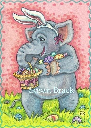 Art: ELEPHANTS NEVER FORGET THE FUN OF AN EASTER EGG HUNT by Artist Susan Brack