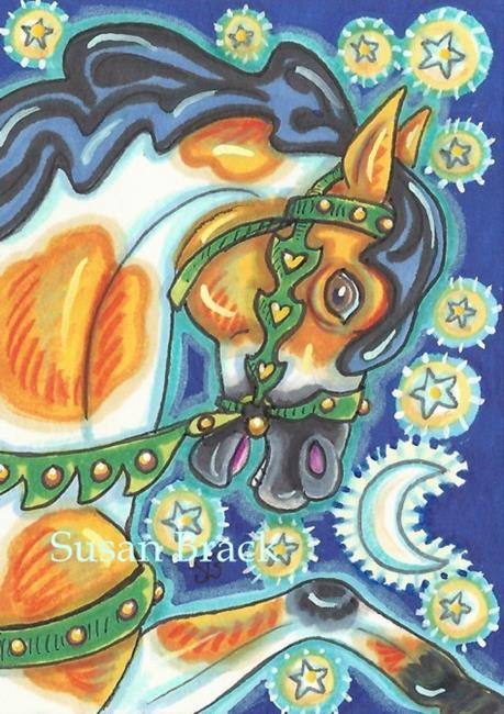 Art: HALLOWEEN CAROUSEL  Horse by Artist Susan Brack