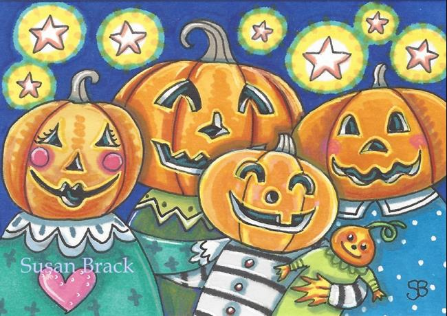 Art: HAPPY HALLOWEEN  Pumpkin People by Artist Susan Brack