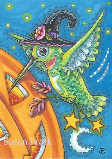 Art: HAPPY HUMMINGBIRD HALLOWEEN by Artist Susan Brack
