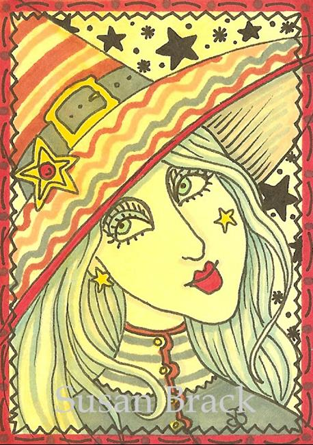 Art: SMILES ARE FREE - WITCH & STRIPES by Artist Susan Brack
