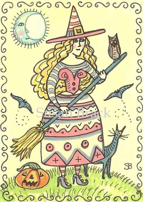 Art: SMILES ARE FREE - WITCH & OWL by Artist Susan Brack