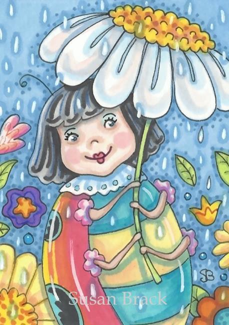 Art: APRIL SHOWERS BRING LADYBUG FLOWERS by Artist Susan Brack