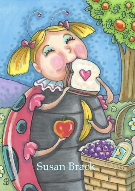 Art: LADYBUG PICNIC Girl by Artist Susan Brack