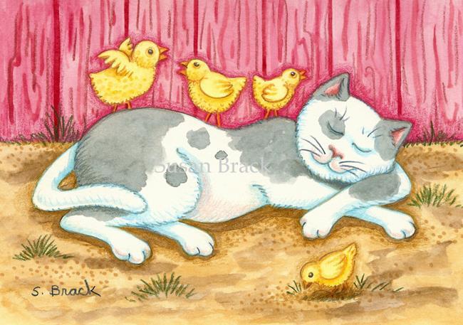 Art: CAT NAP IN THE BARNYARD by Artist Susan Brack