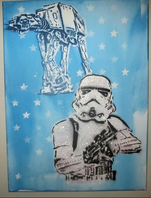 Art: Graffiti Pop Art Star Wars Stormtrooper Glitter by Artist Paul Lake, Lucky Studios