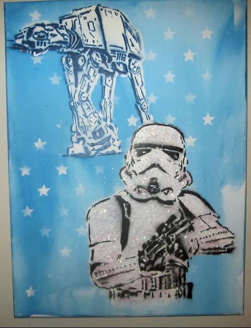 Art: Graffiti Pop Art Star Wars Stormtrooper Glitter by Artist Paul Lake, Lucky Studios