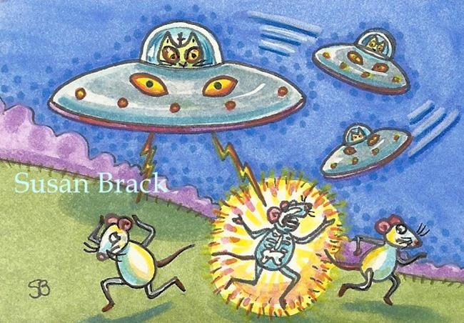 Art: CATS FROM OUTER SPACE by Artist Susan Brack