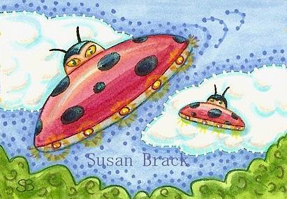 Art: LADYBUG UFOS by Artist Susan Brack