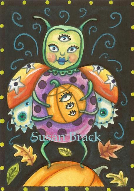 Art: HALLOWEEN ON THE LADYBUG PLANET by Artist Susan Brack