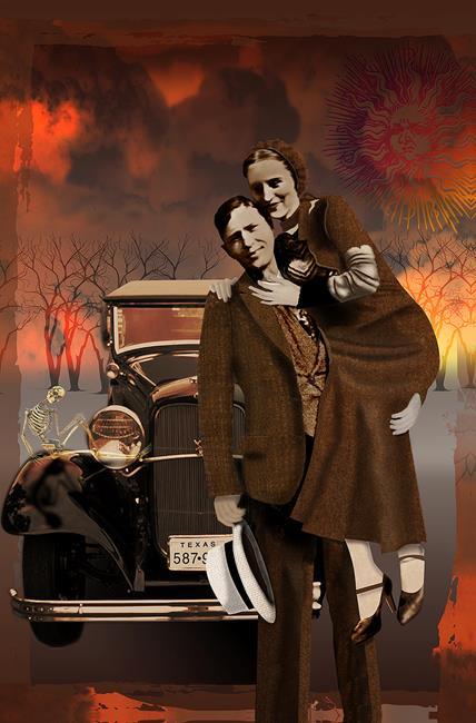 Art: Bonnie & Clyde: Gangster Macabre by Artist Carol Cross