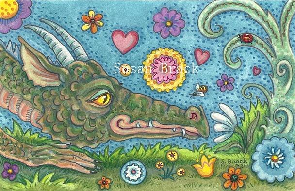 Art: DRAGON'S SECRET GARDEN Flowers by Artist Susan Brack