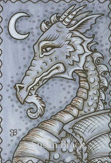Art: GOTH DRAGON MOON by Artist Susan Brack