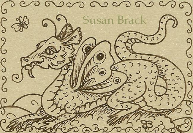 Art: SEPIA DOODLE DRAGON FAIRY by Artist Susan Brack