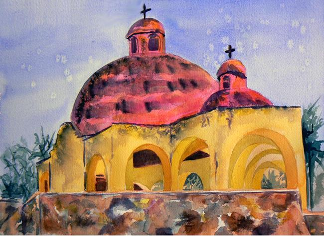 Art: Ajijic empty church by Artist Naquaiya