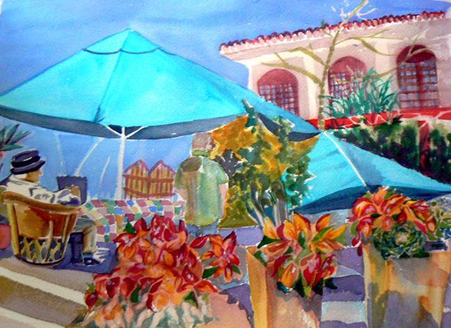 Art: AjijicPlaza umbrellas bus.card by Artist Naquaiya