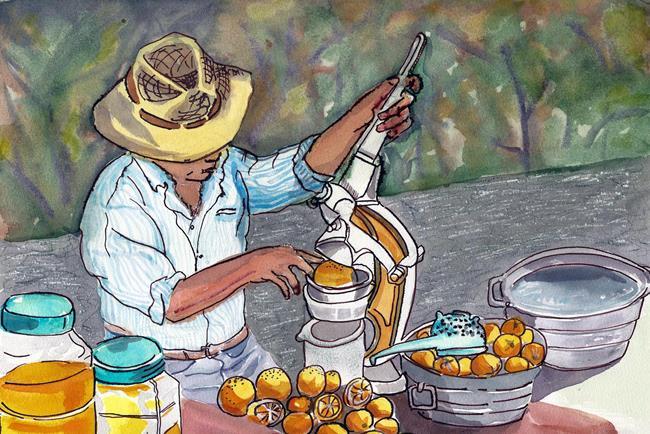 Art: orange juice man is a sculptor too by Artist Naquaiya