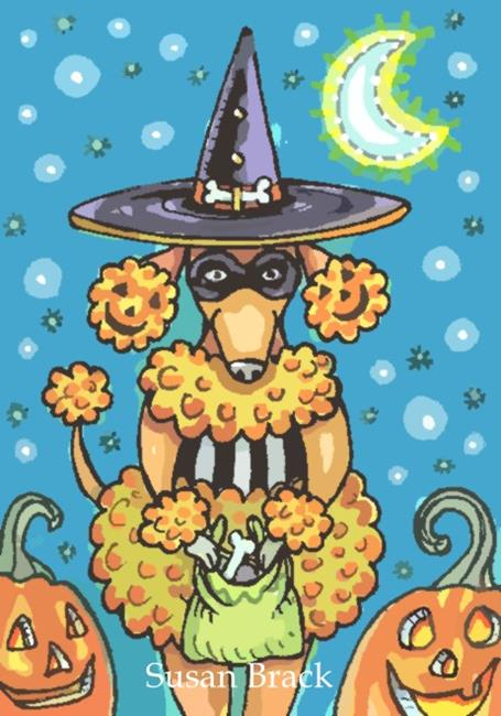 Art: PUMPKIN POODLE Cartoon by Artist Susan Brack