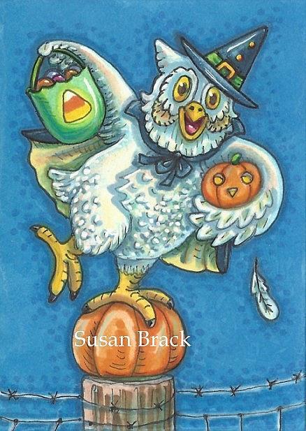 Art: TRICK OR TREAT SMELL MY FEET Owl by Artist Susan Brack