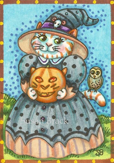 Art: HALLOWEEN OWL AND PUSSYCAT by Artist Susan Brack