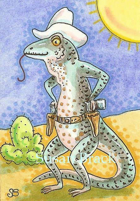 Art: QUICK ON THE DRAW Lizard by Artist Susan Brack