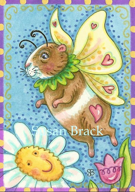 Art: HAPPY DAISIES ARE HERE AGAIN Guinea Pig Fairy by Artist Susan Brack