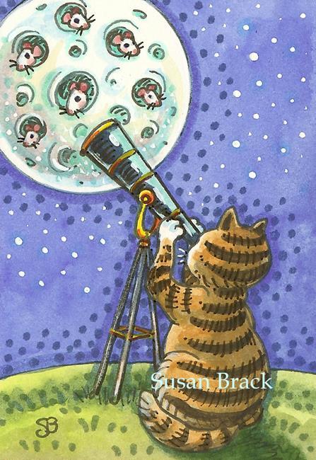 Art: MICE IN THE MOON telescope by Artist Susan Brack