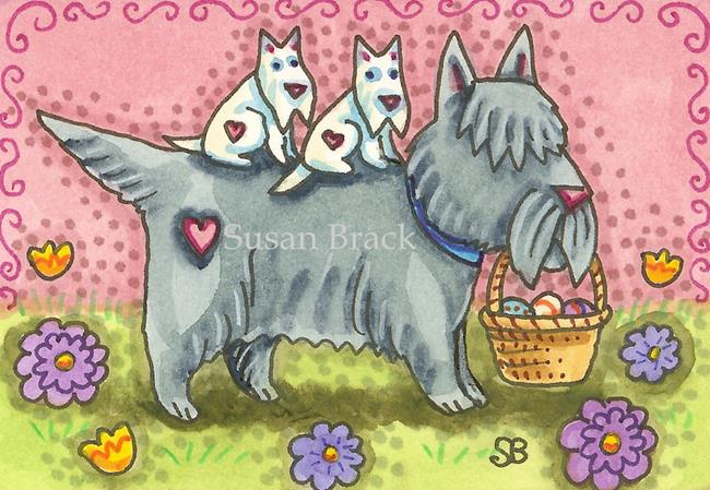 Art: EASTER EGG HUNT Scotties by Artist Susan Brack