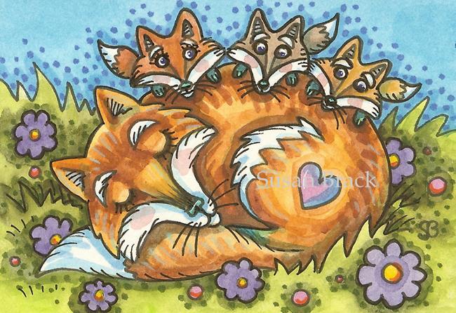Art: LITTLE FOXIES by Artist Susan Brack