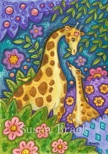 Art: GIRAFFES IN THE GARDEN by Artist Susan Brack