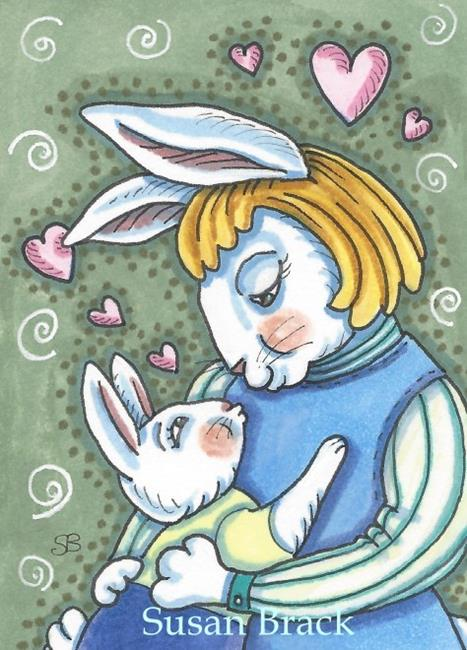 Art: BUNNY HUGS AND KISSES by Artist Susan Brack