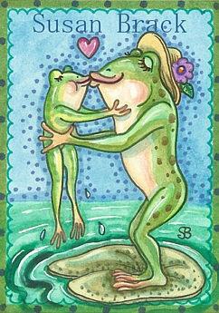 Art: MOMMA LOVES YOU  Frogs by Artist Susan Brack