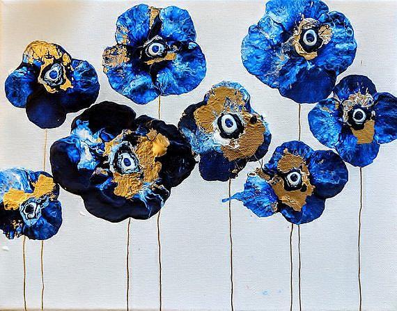 Art: Cobalt Flowers (sold) by Artist Amber Elizabeth Lamoreaux