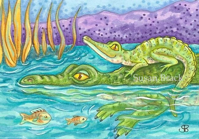 Art: SWIM LESSON  Croc by Artist Susan Brack