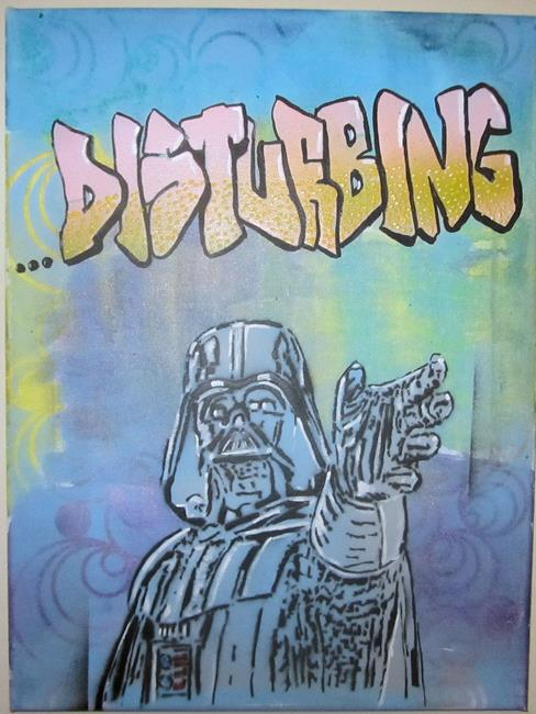 Art: Darth Vader Star Wars Original Pop Graffiti Art  12x16 by Artist Paul Lake, Lucky Studios