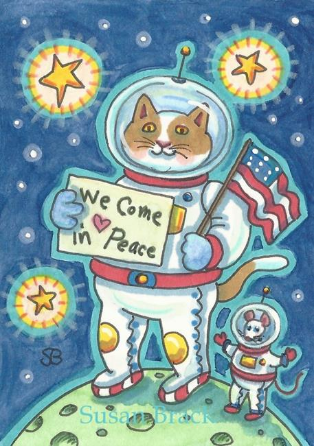 Art: WE COME IN PEACE by Artist Susan Brack