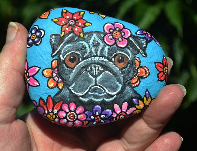 Art: Floral Pug Rock by Artist Melinda Dalke