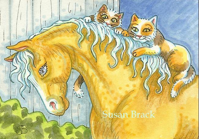 Art: BARN CAT'S PURRRFECT PALOMINO by Artist Susan Brack