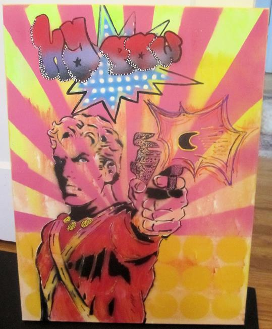Art: Flash Gordon Original Pop Art Graffiti Art, KaPow 18x 24 by Artist Paul Lake, Lucky Studios
