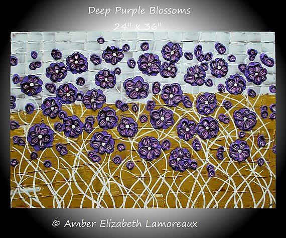 Art: Deep Purple Blossoms (sold) by Artist Amber Elizabeth Lamoreaux