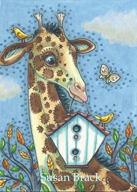 Art: BIRD HOUSE GIRAFFE by Artist Susan Brack