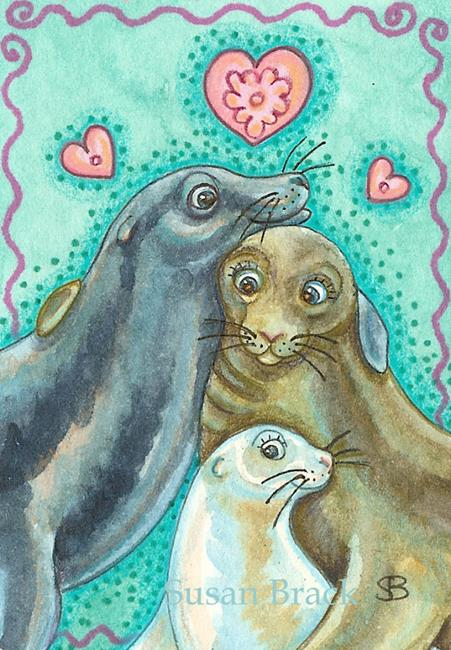Art: SEAL FAMILY PORTRAIT by Artist Susan Brack