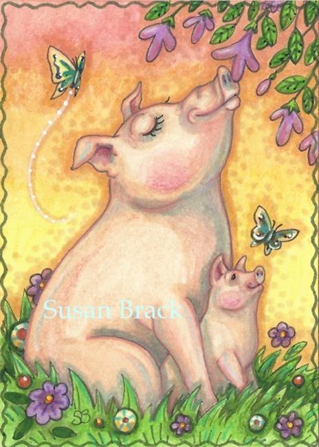 Art: SOW AND PIGLET by Artist Susan Brack