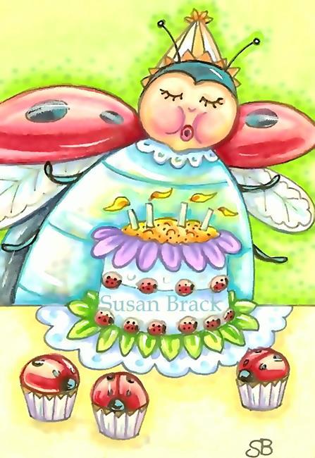 Art: BIRTHDAY WISHES AND LADYBUG CUPCAKES by Artist Susan Brack