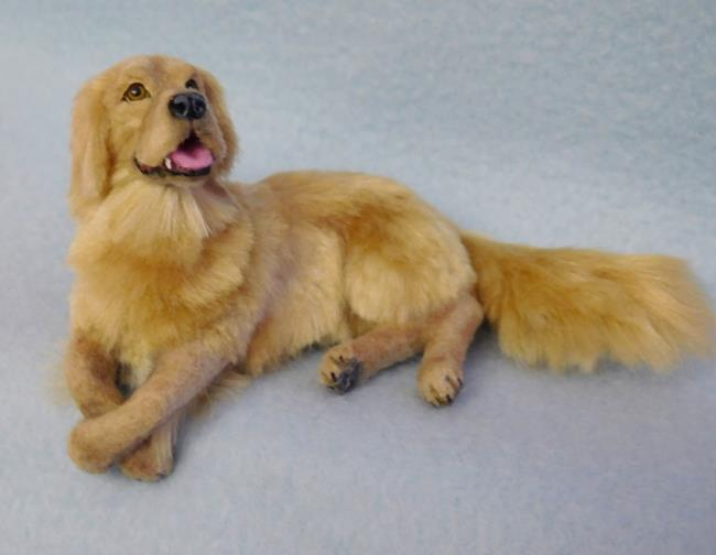 Art: Silk Furred Golden Retriever by Artist Camille Meeker Turner