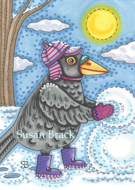 Art: BIRDIE MAKES A SNOWMAN by Artist Susan Brack